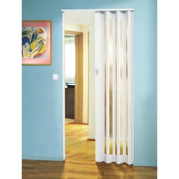 The Eurostar Concertina Folding Door White Glass