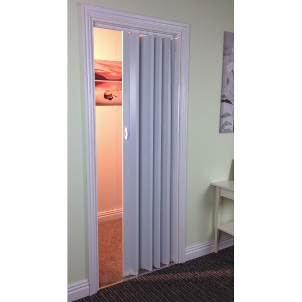 The Plaza - Up To 88cm Single Concertina Folding Door - White Ash